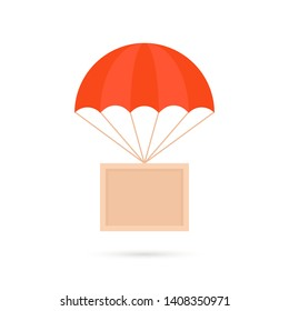 cartoon box hanging on parachute. simple trend modern graphic e-shopping logo design element isolated on white background. concept of fast shipping by air freight or happy holiday gift delivery