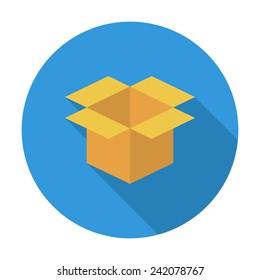 Cartoon Box. Single flat color icon. Vector illustration.