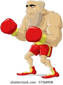 Cartoon the boxer in red gloves