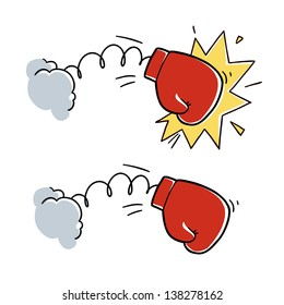 cartoon boxing glove punch. cartoon illustration isolated on white background