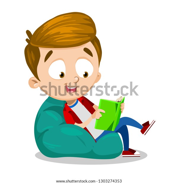 Amazing Cartoon Boy Beanbag Chair Reading Interesting Stock Vector Bralicious Painted Fabric Chair Ideas Braliciousco