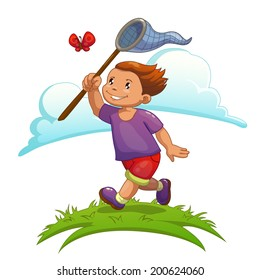 Cartoon boy is catching butterfly, isolated vector