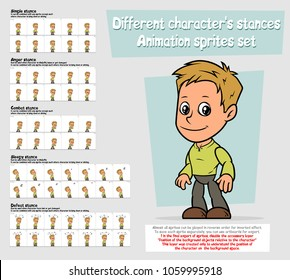 Cartoon boy character big vector animation sprites sheet set. Different stances. Simple, Anger, Combat, Sleepy, Defeat stance .Layered for quick edit. Animation for game, cartoon.