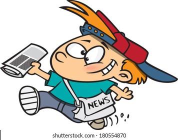 cartoon boy delivering newspapers