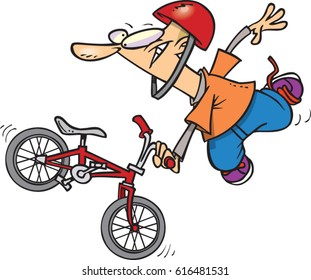 cartoon boy doing extreme bike tricks
