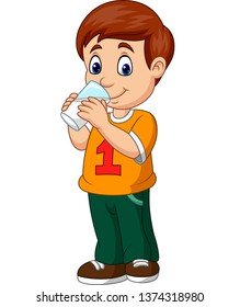 Cartoon boy drinking milk