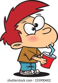 Cartoon boy drinking out of a straw