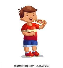 Cartoon boy is eating pizza, isolated vector