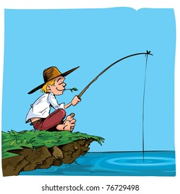 Cartoon of a boy fishing. He is on a riverbank