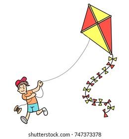 Cartoon of boy flying a kite
