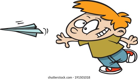 Cartoon Boy Flying Paper Airplane Stock Vector Royalty Free