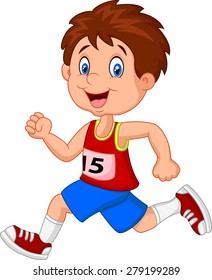Cartoon boy follow the race