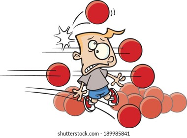 cartoon boy getting pelted by dodge balls