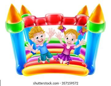Cartoon boy and girl jumping on a bouncy castle