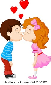 Cartoon boy and girl are kissing
