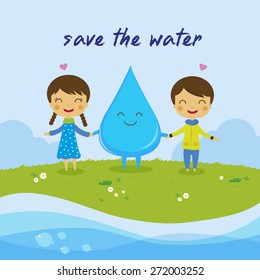 cartoon boy girl love water, Save the water, save the world