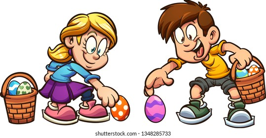 Cartoon boy and girl picking Easter eggs clip art. Vector illustration with simple gradients. Some elements on separate layers.