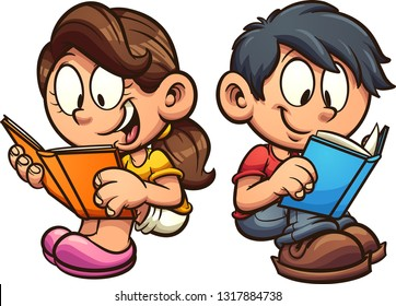 Cartoon boy and girl reading books while sitting down clip art. Vector illustration with simple gradients. Each on a separate layer.