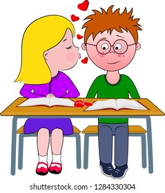Cartoon of a boy and girl sitting at a desk, the girl looks as if she is about to kiss the boy, the boy with spiky hair, wearing glasses, has a red face and an embarrassed look.