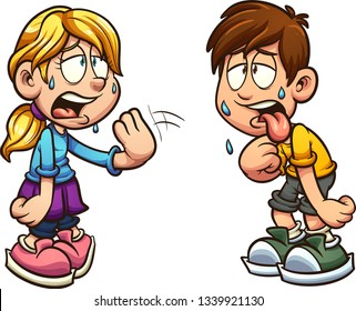 Cartoon boy and girl suffering form heat clip art. Vector illustration with simple gradients. Each on a separate layer.