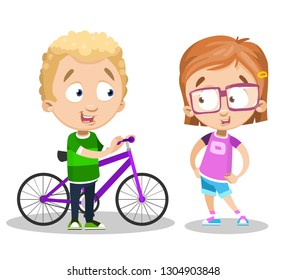 Cartoon boy and girl talking about something. Blonde guy standing near bicycle vector illustration. Pretty girl in glasses. Friendship concept. Isolated on white