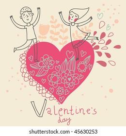 Cartoon boy and girl. Valentines day romantic illustration