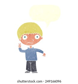 cartoon boy giving peace sign with speech bubble