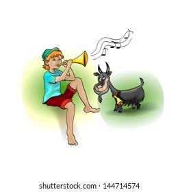 Cartoon Boy and Goat