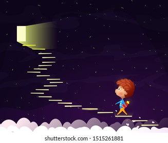 Cartoon boy goes up the stairs to the moonlight door. Conceptual image on the topic of reading and self-education.