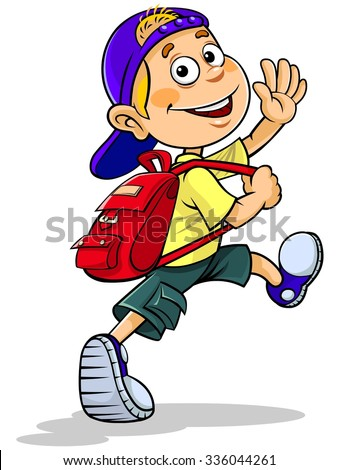 cartoon boy going school stock vector royalty free 336044261