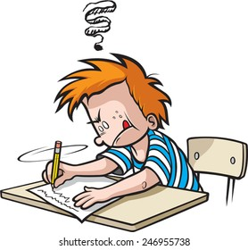 Cartoon Boy in Grade school writing a paper. Vector file available. School Boy writing