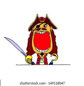 A cartoon of a boy in a Halloween pirate costume with a wide open mouth with blank space for text.