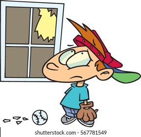 cartoon boy has broken window playing baseball