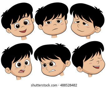 Cartoon Boy Head. Vector Set of Different Emotions Icons. vector and illustration.