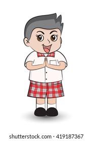 Cartoon boy hello thai style vector illustration