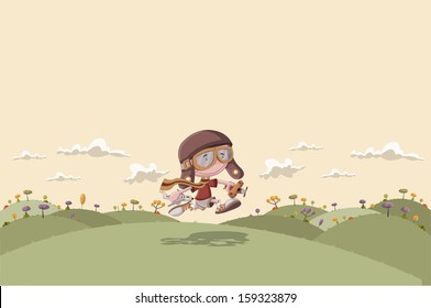 Cartoon boy with helmet and goggle running on green park with airplane toys