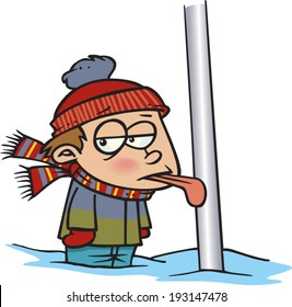 cartoon boy with his tongue frozen to a pole