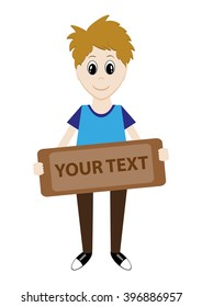 cartoon boy holding a sign for your text. Vector illustration