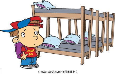 cartoon boy looking a bunk beds at summer camp