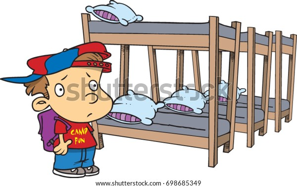 new concept 6f197 ca2b2 Cartoon Boy Looking Bunk Beds Summer Stock Vector (Royalty ...