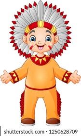 Cartoon boy native american indian with traditional costume
