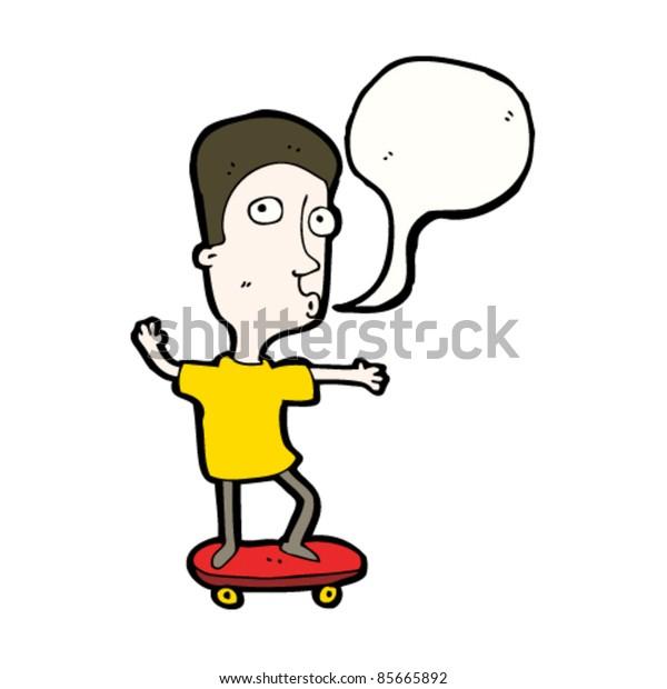 cartoon boy on skateboard with speech bubble