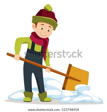 cartoon boy overalls holding shovel start stock vector royalty free