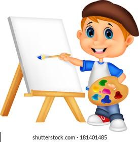 Cartoon boy painting