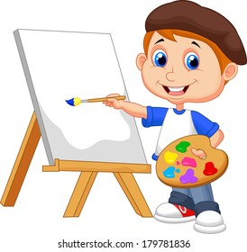 Cartoon boy painting on white background