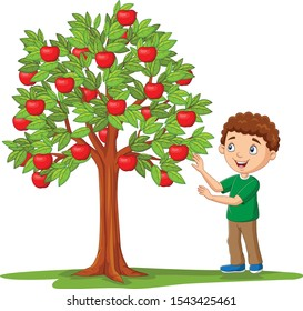 Cartoon boy picking apples from apple tree