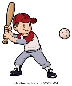 Cartoon boy playing baseball. Baseball and character on separate layers for easy editing.