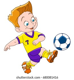 Cartoon boy playing football, isolated on white background. Colorful book page for kids and children.