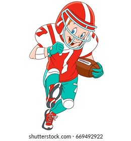 Cartoon boy playing rugby, american football. Vector illustration for kids and children.
