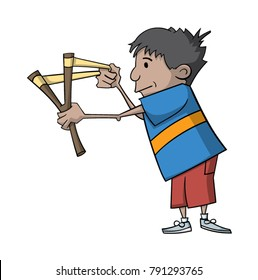 Cartoon boy playing with a slingshot